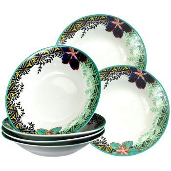 Decorative Floral Ceramic Cereal Salad Dessert Bowls