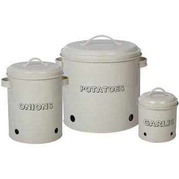 Antique Cream Vintage Potato Onion Garlic Kitchen Storage Canisters Jars Pots Containers Set