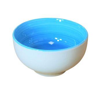 White Ceramic Blue Inner Cereal Salad Dessert Bowls