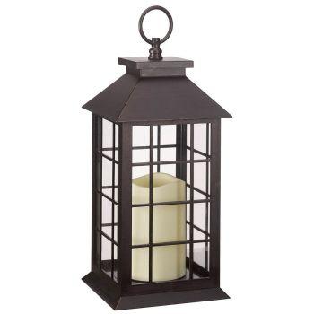 Window Lantern With Timer LED Candle