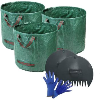 Durable PP Woven Fabric Garden Bags - Includes Leaf Scoop & Gloves