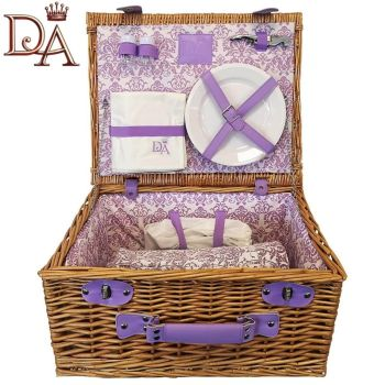 Downtown Abbey Traditional Picnic Hamper Basket Set