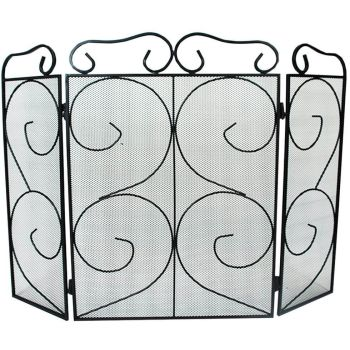 Chequers 3 Panel Folding Fire Guard Fire Screen Spark Flame Guard