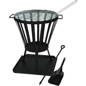 Camelot Fire Pit Stand With BBQ Grill + Ash Shovel & Poker Set