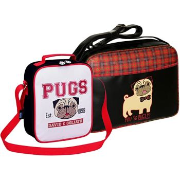 David & Goliath Pug Bag Set 'You So Pugly' Tartan Messenger Bag & Pugs Lunch Bag