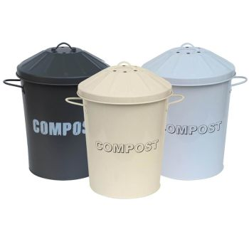 Vintage Style Galvanised Compost Food Waste Recycling Bin Caddy