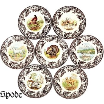 Spode Woodland Earthenware Collectibles Dining Dinner Plates