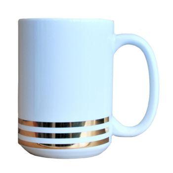 Contemporary White Ceramic Mugs With Gold Stripes 400ml
