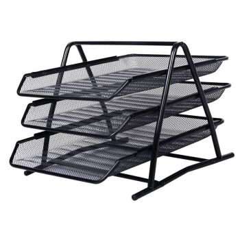 3 Tier Black Office Filing Trays - A4 Size
