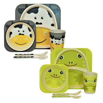 Eco Friendly Bamboo Frog & Cow Design 5 Piece Dinner Set