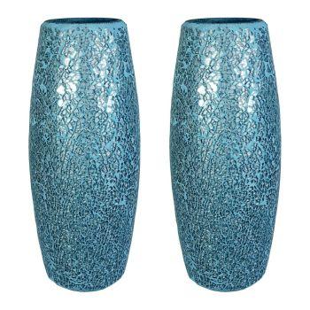 Lucenté Crackle Glass Mosaic Vase With Blue & Silver Finish