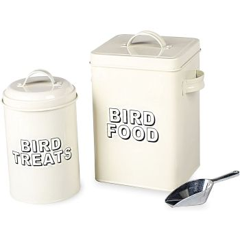 Bird Food Storage Tin Cream Metal Bird Food Storage