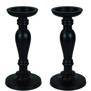 Black Gothic Wood Carved Pillar Candle Sticks Holders