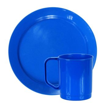 Blue Plastic Camping Plate & Cup Sets