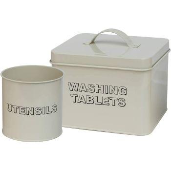 2PC Antique Cream Washing Tablet & Utensil Storage Set
