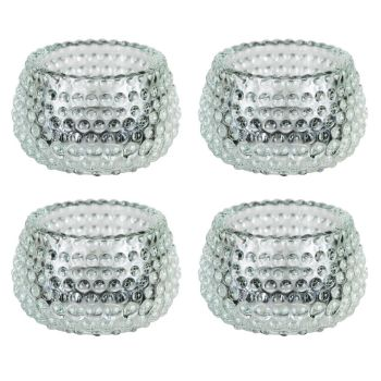 Lucenté Chunky Clear Glass Bubble Dots Tealight Candle Holder