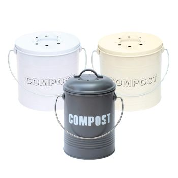 Vintage Style Compost Bin Caddy with Odour Absorbing Filter