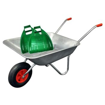 65 Litre Galvanised Wheelbarrow With Large Plastic Leaf Grabber Set