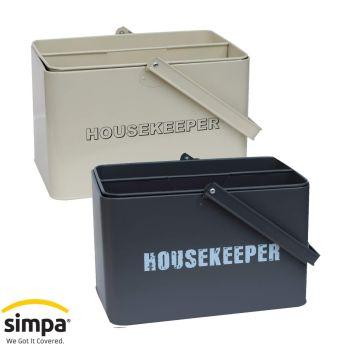 Simpa Vintage Styled Metal Housekeeper Cleaning Caddy Storage Set