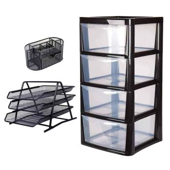 Large Multi-Purpose Plastic 4 Drawer Modular Storage Tower - With 3 Tier Desktop Document Tray & Desk Tidy