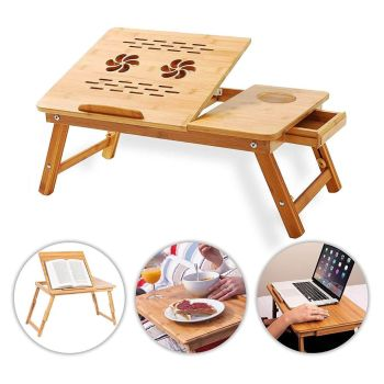 Laptop Notebook Bamboo Table - Foldable, Adjustable, Portable