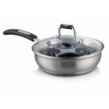 Gourmet 20cm Stainless Steel 4 Cup Egg Poacher 2in1 Pan
