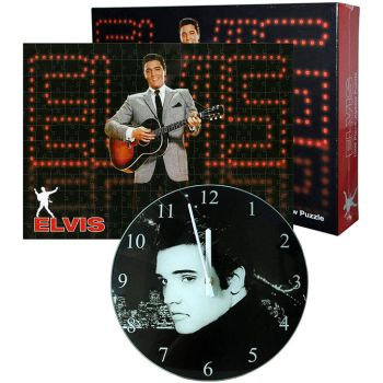Exclusive Elvis Jigsaw Puzzle and Wall Clock Combo Set