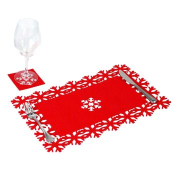Snowflake Christmas Table Place Mat & Coaster Set - Multi Buy