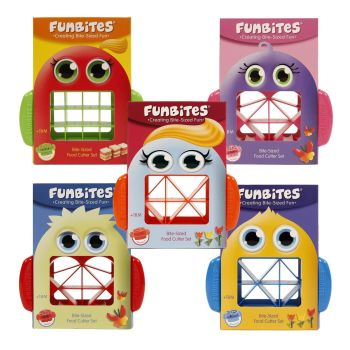 Funbites Bite-Sized Food Cutter – Cuts Food In Bite-Sized Square, Triangle Or Heart Shapes