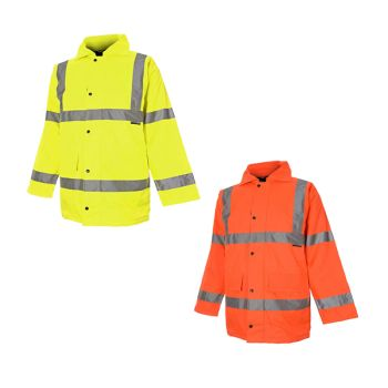 Hi Vis High Visibility 300D Quilted Waterproof 3/4 Length Parka Coats