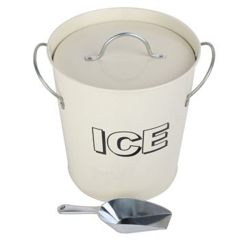 Vintage Retro Party Bar Ice Cooler Holder Bucket with Scoop Set