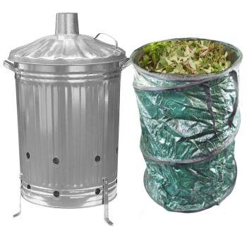 90 Litre Garden Incinerator Burning Fire Bin Pit + 90 Litre Pop Up Garden Waste Bag