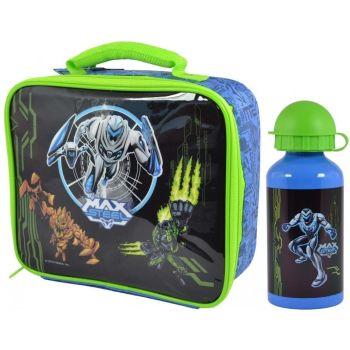Max Steel Freaks Kids Children Lunch Bag and Metal Water Bottle Set