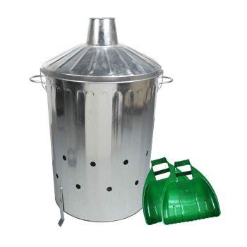 Metal Incinerator + Large Plastic Leaf Grabber Set - Choice Of Sizes