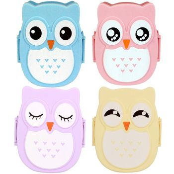 Kids Adults Bright Owl Shape Food Container Sealed Lunch Box