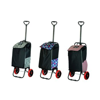 Pattern Folding Shopping Trolley with Lightweight Collapsible Frame