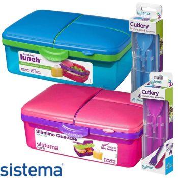 Sistema 1.5L Quaddie Lunchbox & Sistema To Go Cutlery Set