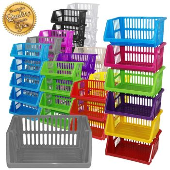 Multi Purpose Large Plastic Colour Storage Rack Stand Stacking Stackable Basket