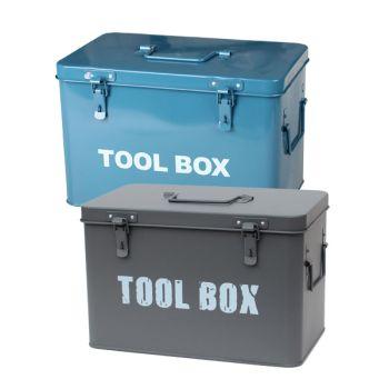 Metal Toolbox Retro Vintage Style Single Tray Tool Box with Lockable Lid