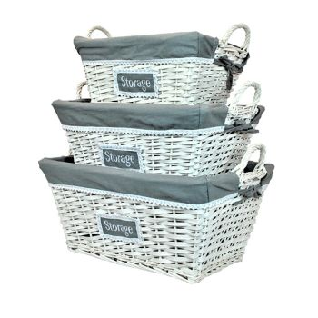 White Rattan Nesting Storage Baskets with Grey Liners