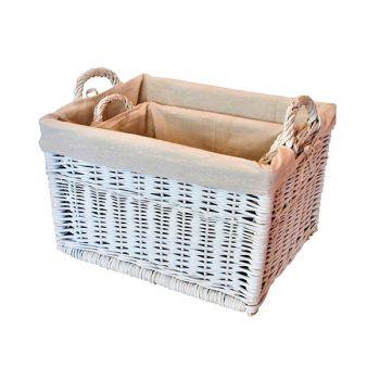 White Wicker Nesting Storage Baskets