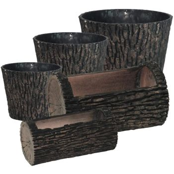 Woodland Textured Trunk Style Plastic Planters